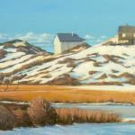 SNOW ON BALLSTON BEACH DUNES oil/canvas   15 x 30