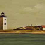 "VIEW OF LONG POINT  Oil on board-3"" x 5"" Miniature"
